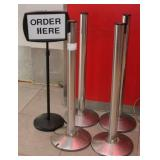 (4) Beltrac Belt Stanchion crowd control posts