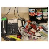 Telephone, gift card rack and gift cards