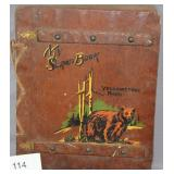 wood bound scrap book Yellowstone Park containing