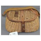 woven fishing creel w/leather reinforcement and