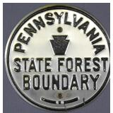 "Pennsylvania State Forest Boundary 5"" round metal"