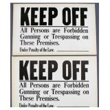 "pair of ""Keep Off All Persons are Forbidden"