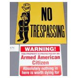"pair of signs ""Stop No Trespassing"" cardboard &"