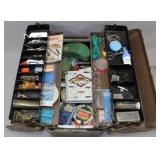 Steel accordion style tackle box full of asstd.