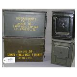 (4) metal .50 cal. M1 ammunition boxes