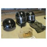 (3) Motorcycle Helmets with (2) Sets of Gloves