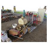 (3) Pallets of Misc. Barrel Carts, Tank, Cabinet,