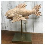 Koi Fish Sculpture on Brass Stand
