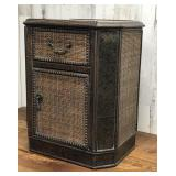 Glass Top Wicker Style End Table with