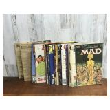 Large Selection of Mad Comics and Guitar
