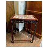 Oriental Style Marble Inlay Side Table