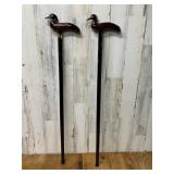 Two Carved Wood Walking Canes