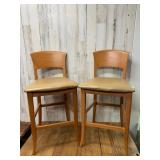 Set of Two Cushioned Bar Height Chairs
