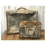 Vintage Suitcase with Matching Carry-On