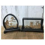 Two Asian Carved Cork Diorama Shadow