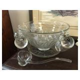Frosted Glass Punch Bowl with Glass