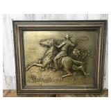 Embossed Bronze Cowboy Framed Art