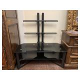 Two Tier Black Metal and Glass TV Stand
