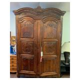 Beautiful Solid Carved Wood Lit Armoire