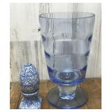 Blue Glass Vase and Faberge Style Salt and