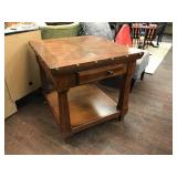 Solid Wood Nail Head End Table with One