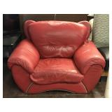 Red Leather Over Stuffed Chair