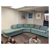 Beautiful Vintage Blue Three Piece Sectional