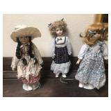 Three Vintage Porcelain Dolls