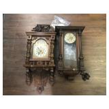 Two Antique Solid Wood Wall Clocks