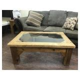 Rustic solid wood coffee table with glass top