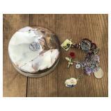 Vintage stone powder jar with jewelry