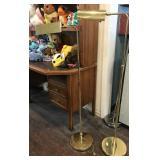 Two Brass Adjustable Height Floor Lamps