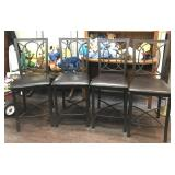 Bar Height Metal and Cushion Chairs