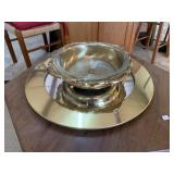 Gold Serving Dish with Insert and Mirror