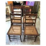 4 Antique Whicker Top Chairs