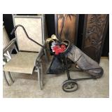 Vintage Golfbag/Cart with Clubs
