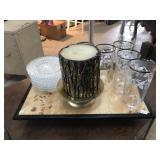 Selection of Home Decor, Etched Glasses, Plates