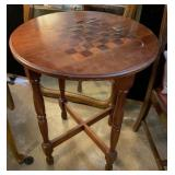Solid Wood Checkers Top Side Table