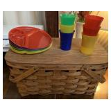 Vintage Picnic Basket with Cups