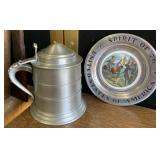 Metal stein with spirit of us plate