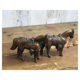 Two Brass Equestrian Horses