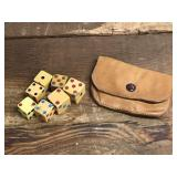 Vintage Dice with Leather Case