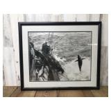 Framed and Matted Fishing Photo