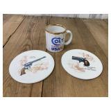 Two Large Gun Coasters and Colt 45 Mug