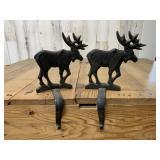 Two Iron Moose Stocking Hangers