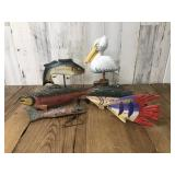 Selection of Hand Carved Fish Decor