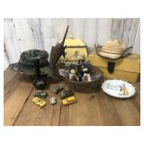 Collectable Lot of Pottery, Tacklebox, and
