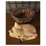 Nut Basket and Deer Ceramic Figure