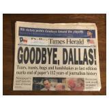 1991 Daily Times Herald Goodbye Dallas