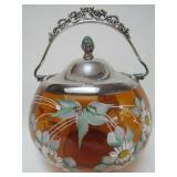 VICTORIAN AMBER GLASS BISCUIT BARREL